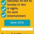 October half-term from just £4.76pppn