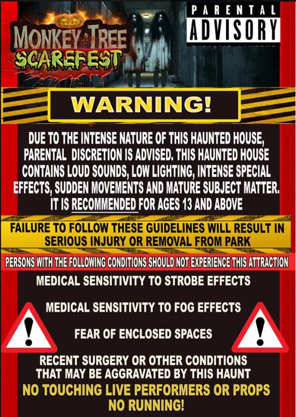 Monkey Tree Holiday Park Scarefest warning poster