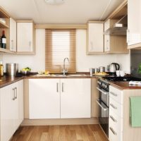 Holywell Holiday Home kitchen at Monkey Tree Holiday Park