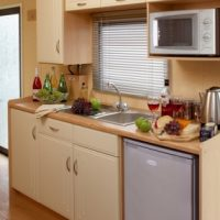 Fistral Holiday Home kitchen at Monkey Tree Holiday Park near Newquay