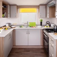 Watergate Holiday Home kitchen at Monkey Tree Holiday Park