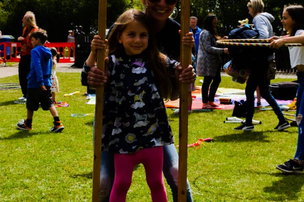 Party in the Park 2019 circus skills stilts