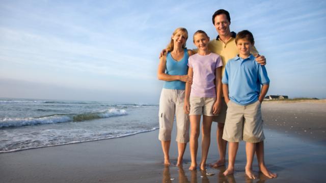 beach family on holiday
